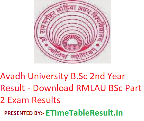 Avadh University B Sc 2nd Year Result 2019 - Download RMLAU