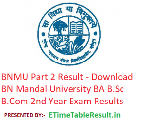 BNMU Part 2 Result 2019 - Download BA B.Sc B.Com 2nd Year Results BN Mandal University Examination