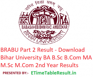 BRABU Part 2 Result 2019 - Download 2nd Year BA B.Sc B.Com MA M.Sc M.Com Results Bihar University
