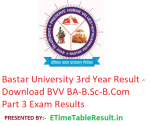 Bastar University 3rd Year Result 2019 - Download BA B.Sc B.Com Part 3 Results BVV Examination