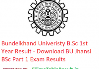 Bundelkhand University B.Sc 1st Year Result 2019 - Download BU Jhansi BSc Part 1 Exam Results