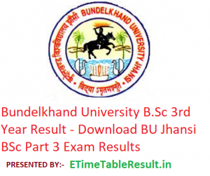Bundelkhand University B.Sc 3rd Year Result 2019 - Download BU Jhansi BSc Part 3 Exam Results