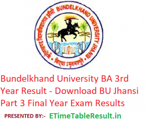 Bundelkhand University BA 3rd Year Result 2019 - Download BU Jhansi Part 3 Exam Results