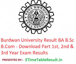 Burdwan University Result 2019 BA B.Sc B.Com - Download Part 1st-2nd-3rd Year Exam Results