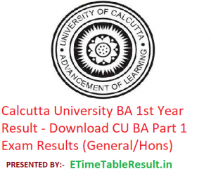 Calcutta University BA 1st Year Result 2019 - Download CU BA Part 1 Exam Results (General/Hons)