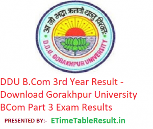 DDU B.Com 3rd Year Result 2019 - Download BCom Part 3 Exam Results Gorakhpur University