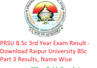 PRSU B.Sc 3rd Year Result 2019 - Download Raipur University BSc Part 3 Exam Results, Name Wise