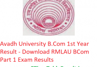Avadh University B.Com 1st Year Result 2019 - Download RMLAU BCom Part 1 Exam Results