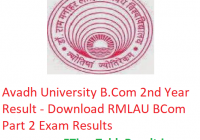 Avadh University B.Com 2nd Year Result 2019 - Download RMLAU BCom Part 2 Exam Results