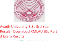 Avadh University B.Sc 3rd Year Result 2019 - Download RMLAU BSc Part 3 Exam Results