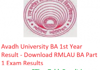 Avadh University BA 1st Year Result 2019 - Download RMLAU ba Part 1 Exam Results
