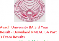 Avadh University BA 3rd Year Result 2019 - Download RMLAU ba Part 3 Exam Results