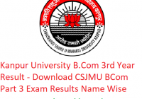 Kanpur University B.Com 3rd Year Result 2019 - Download BCom Part 3 Exam Results CSJMU