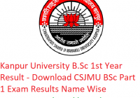Kanpur University B.Sc 1st Year Result 2019 - Download BSc Part 1 Exam Results CSJMU