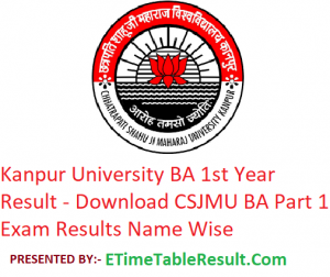 Kanpur University BA 1st Year Result 2019 - Download ba Part 1 Exam Results CSJMU