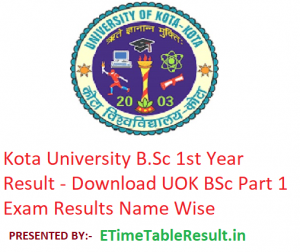 Kota University B.Sc 1st Year Result 2019 - Download UOK BSc Part 1 Exam Results Name Wise