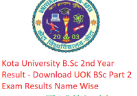 Kota University B.Sc 2nd Year Result 2019 - Downlaod UOK BSc Part 2 Exam Results Name Wise