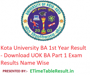 Kota University BA 1st Year Result 2019 - Download UOK ba Part 1 Exam Results Name Wise