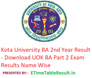 Kota University BA 2nd Year Result 2019 - Downlaod UOK ba Part 2 Exam Results Name Wise
