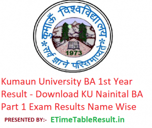 Kumaun University BA 1st Year Result 2019 - Download ba Part 1 Exam Results KU Nainital