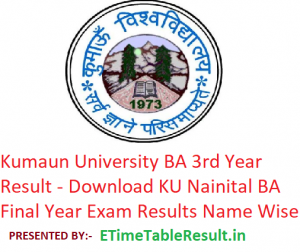 Kumaun University BA 3rd Year Result 2019 - Download ba Part 3rd Year Exam Results KU Nainital