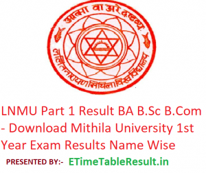 LNMU Part 1 Result 2019 BA B.Sc B.Com - Download 1st Year Exam Results Mithila University
