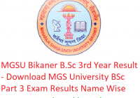 MGSU B.Sc 3rd Year Result 2019 - Download BSc Part 3 Exam Results MGS University Bikaner