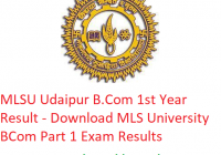 MLSU B.Com 1st Year Result 2019 - Download BCom Part 1 Exam Results MLS University Udaipur