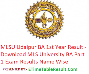 MLSU BA 1st Year Result 2019 - Download ba Part 1 Exam Results MLS University Udaipur