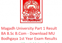 Magadh University Part 1 Result 2019 BA B.Sc B.Com - Download 1st Year Exam Results MU Bodhgaya