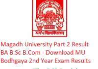 Magadh University Part 2 Result 2019 BA B.Sc B.Com - Download 2nd Year Exam Results MU Bodhgaya