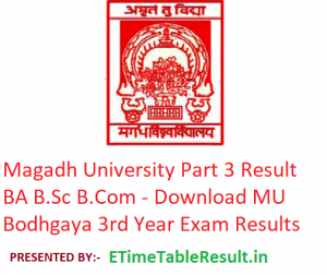 Magadh University Part 3 Result 2019 BA B.Sc B.Com - Download 3rd Year Exam Results MU Bodhgaya