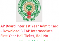 AP Board Inter 1st Year Admit Card 2019 - Download BIEAP Intermediate First Year Hall Ticket, Roll No