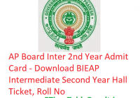 AP Board Inter 2nd Year Admit Card 2019 - Download BIEAP Intermediate Second Year Hall Ticket, Roll No