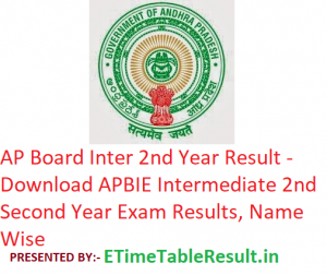AP Board Inter 2nd Year Result 2019 - Download APBIE Intermediate Second Year Results, Name Wise