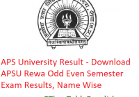 APS University Result 2019 - Downoad APSU Rewa Odd Even Semester Exam Results, Name Wise