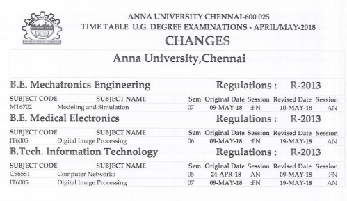 Anna University 1st-3rd-5th Semester Exam Date Sheet 2019 Download Online