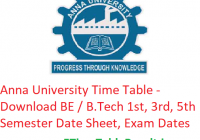 Anna University Time Table 2019 - Download BE / B.Tech 1st-3rd-5th Semester Date Sheet, Exam Dates