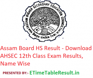 Assam Board HS Result 2019 - Download AHSEC 12th Class Exam Results, Name Wise