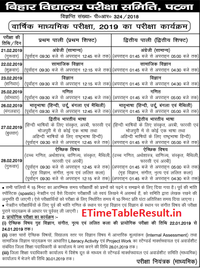 Bihar Board 10th Class Time Table 2019 Download Online