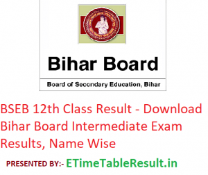 Bihar Board 12th Class Result 2019 - Download BSEB Intermediate Exam Results, Name Wise