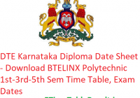 DTE Karnataka Diploma Date Sheet 2018-19 - Download BTELINX Polytechnic 1st-3rd-5th Sem Time Table, Exam Date