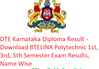DTE Karnataka Diploma Result 2018-19 - Download BTELINX Polytechnic 1st-3rd-5th Sem Results, Name Wise