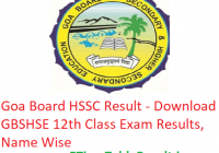 Goa Board HSSC Result 2019 - Download GBSHSE 12th Class Exam Results, Name Wise