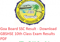 Goa Board SSC Result 2019 - Download GBSHSE 10th Class Exam Results