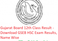 Gujarat Board HSC Result 2019 - Download GSEB 12th Class Exam Results, Name Wise