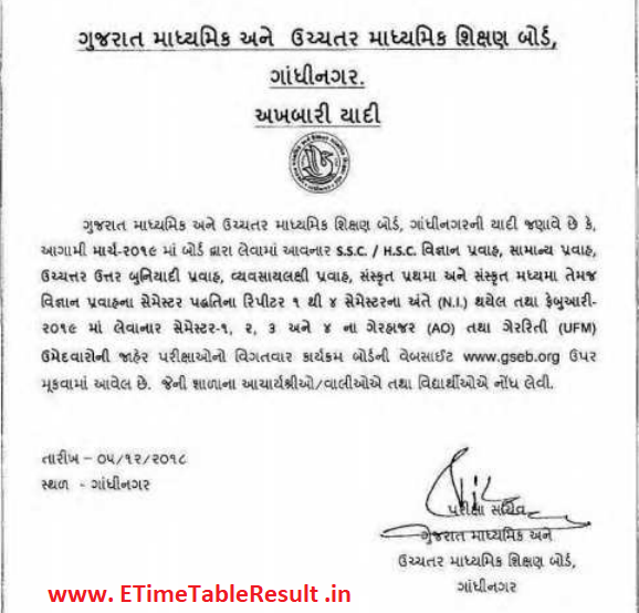 Gujarat Board HSC Time Table 2019 Download Exam Dates Check Here