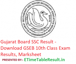 Gujarat Board SSC Result 2019 - GSEB 10th Class Exam Results, Marksheet