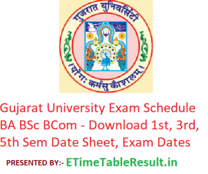 Gujarat University Exam Schedule 2019 BA B.Sc B.Com - Download 1st-3rd-5th Sem Date Sheet, Exam Dates