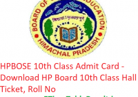 HPBOSE 10th Class Admit Card 2019 - Download HP Board 10th Class Hall Ticket, Roll No